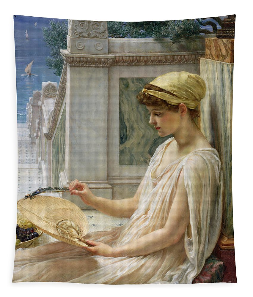 On The Terrace Tapestry featuring the painting On The Terrace by Sir Edward John Poynter