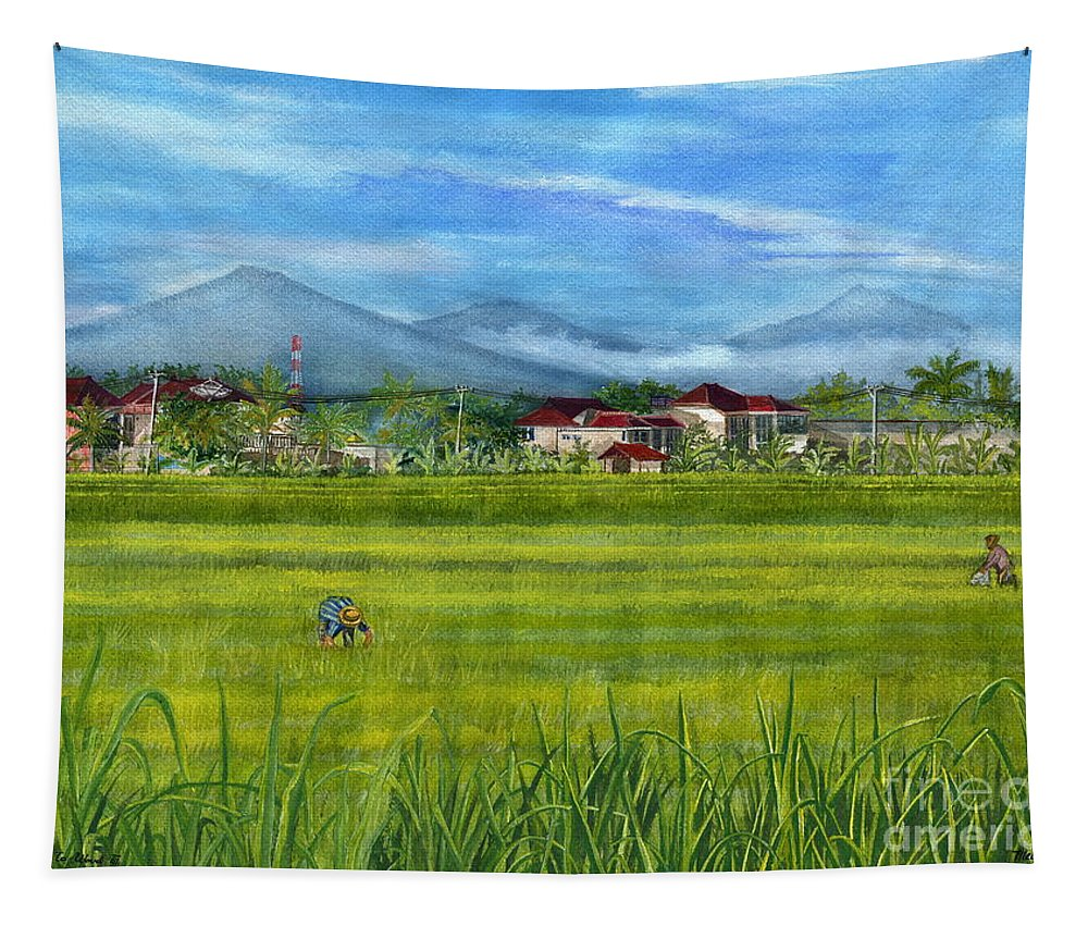 Ubud Tapestry featuring the painting On The Way To Ubud 3 Bali Indonesia by Melly Terpening