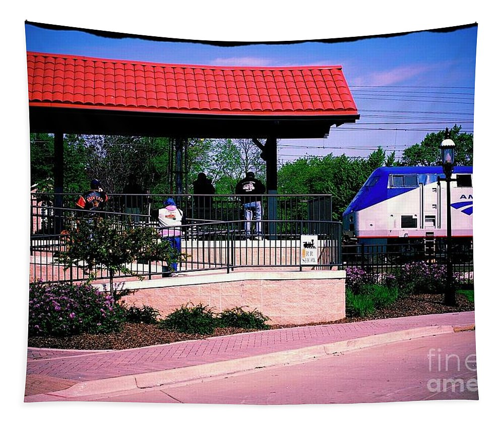 Train Tapestry featuring the photograph On Time by Frank J Casella