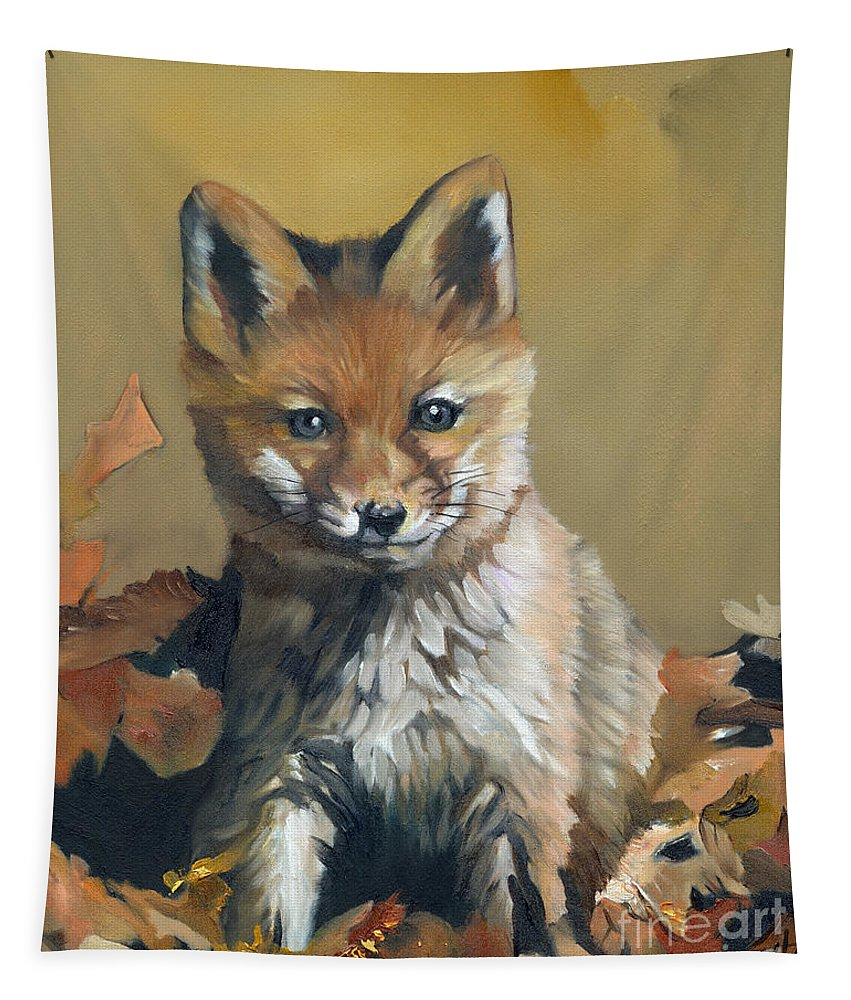 Fox Tapestry featuring the painting Once Upon A Time by J W Baker