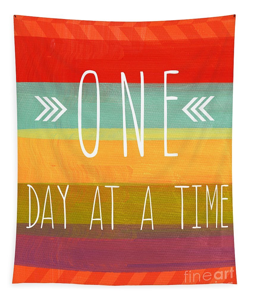 one Day At A Time Tapestry featuring the mixed media One Day At A Time by Linda Woods
