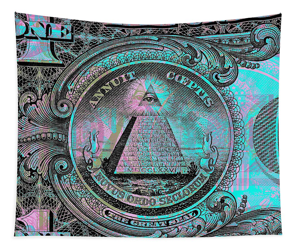 $1 Tapestry featuring the digital art One-dollar-bill - $1 - Reverse Side by Jean luc Comperat