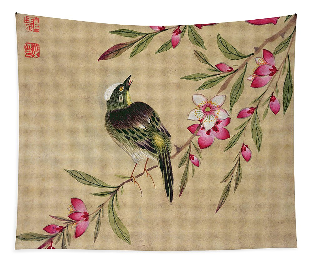 Asian Tapestry featuring the painting One Of A Series Of Paintings Of Birds And Fruit, Late 19th Century by Wang Guochen