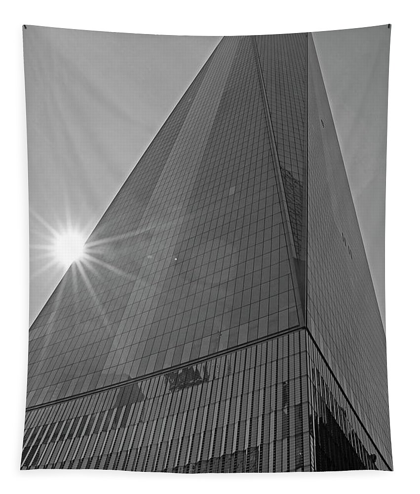New Tapestry featuring the photograph One World Trade Center New York Ny Sunset Black And White by Toby McGuire