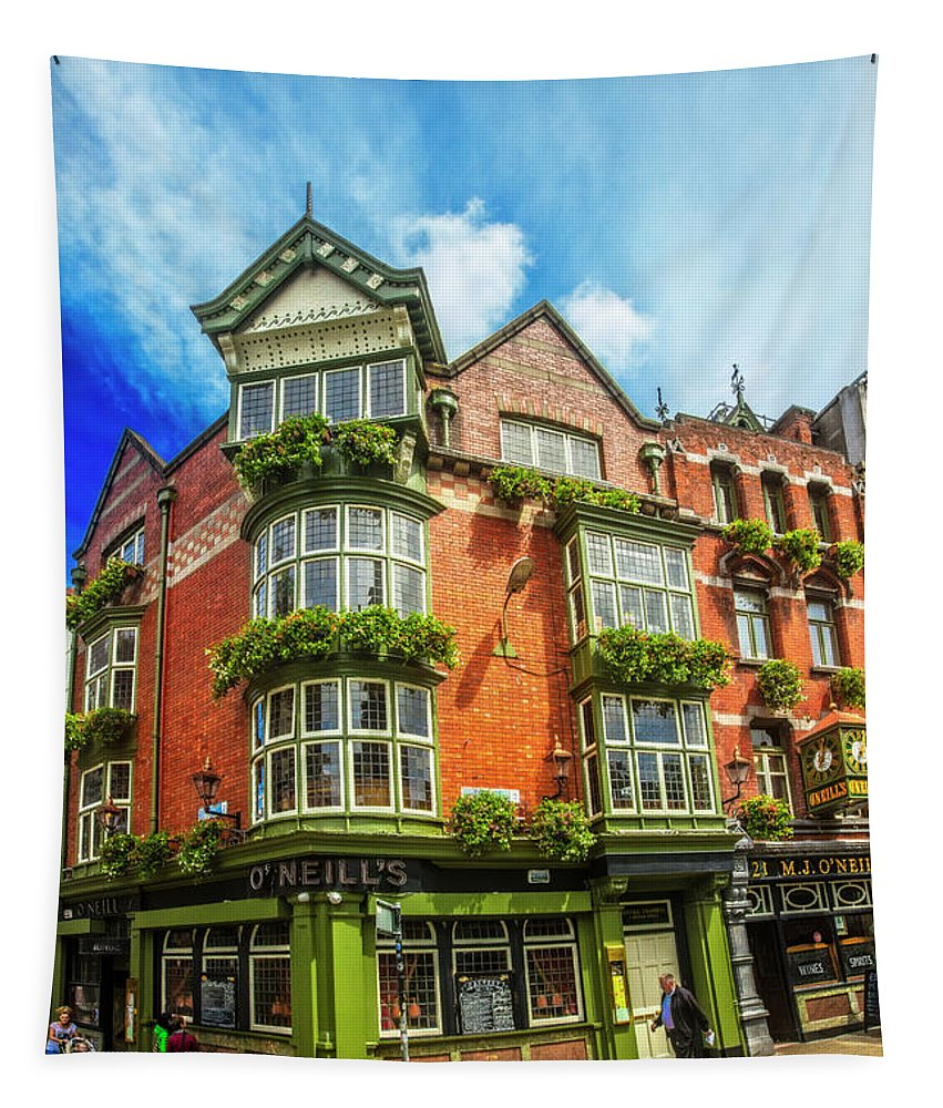 O'neill's Tapestry featuring the photograph O'neill's In Dublin by Debra and Dave Vanderlaan