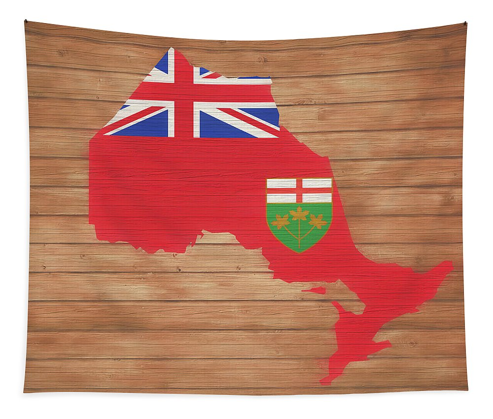 Ontario Rustic Map On Wood Tapestry featuring the mixed media Ontario Rustic Map On Wood by Dan Sproul