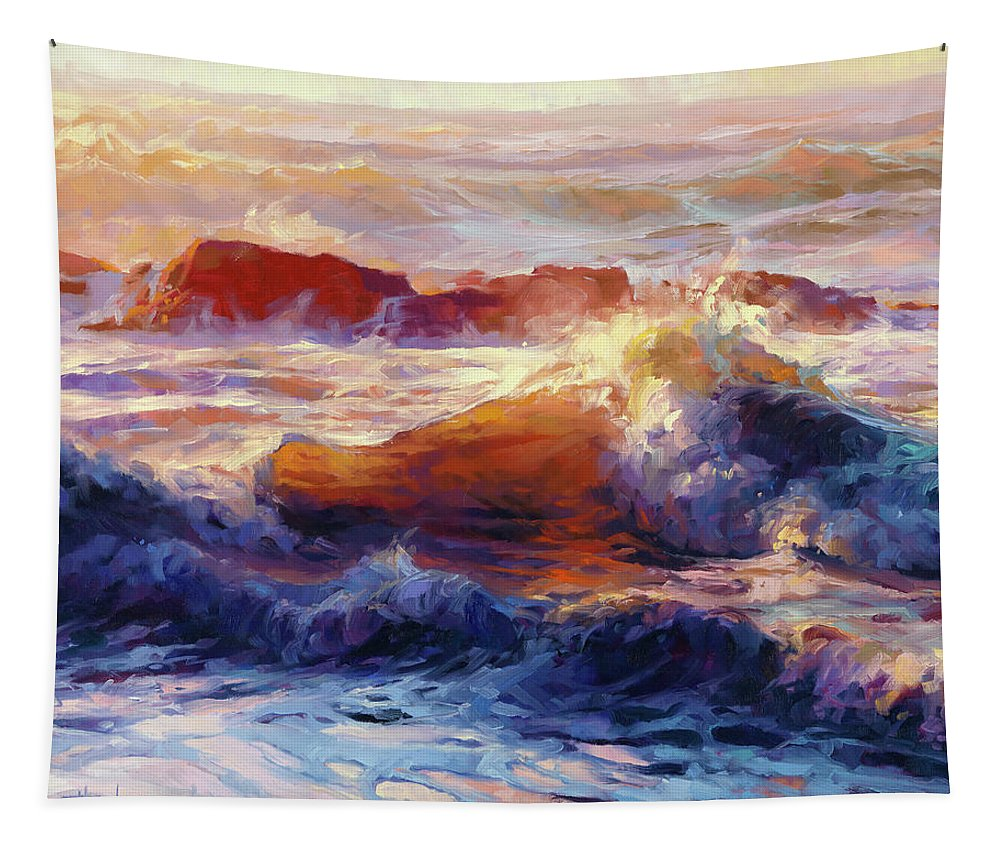 Ocean Tapestry featuring the painting Opalescent Sea by Steve Henderson