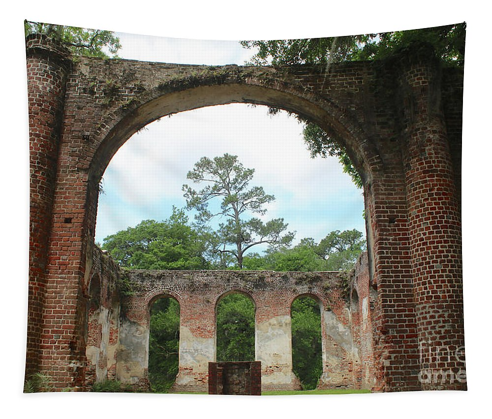 Old Sheldon Church Ruins Tapestry featuring the photograph Open Air Church by Carol Groenen