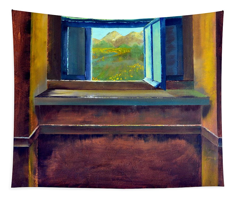 Trompe L'oeil Tapestry featuring the painting Open Window by Michelle Calkins