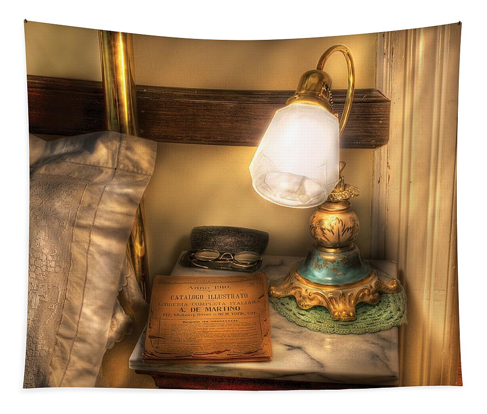 Savad Tapestry featuring the photograph Optometrist - Night Stand by Mike Savad