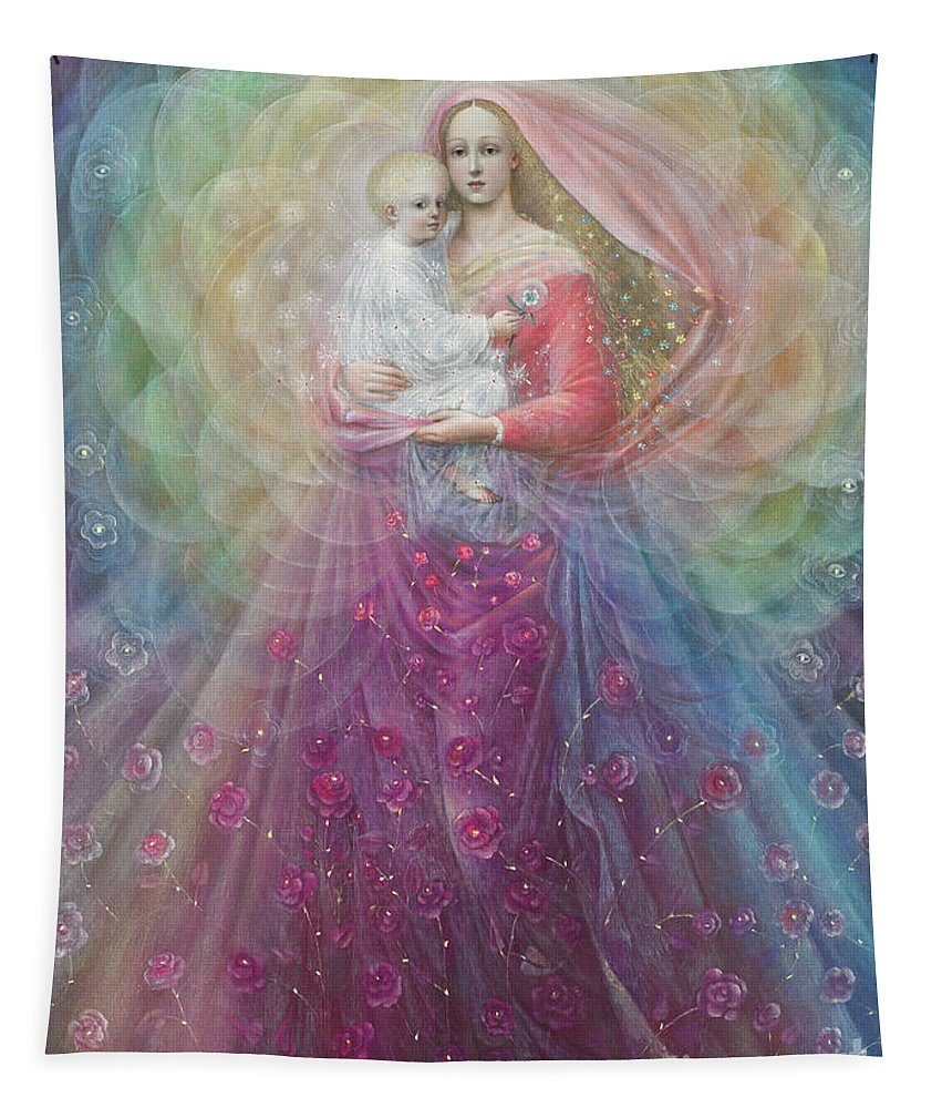 Virgin And Child Tapestry featuring the painting Ora Pro Nobis by Annael Anelia Pavlova