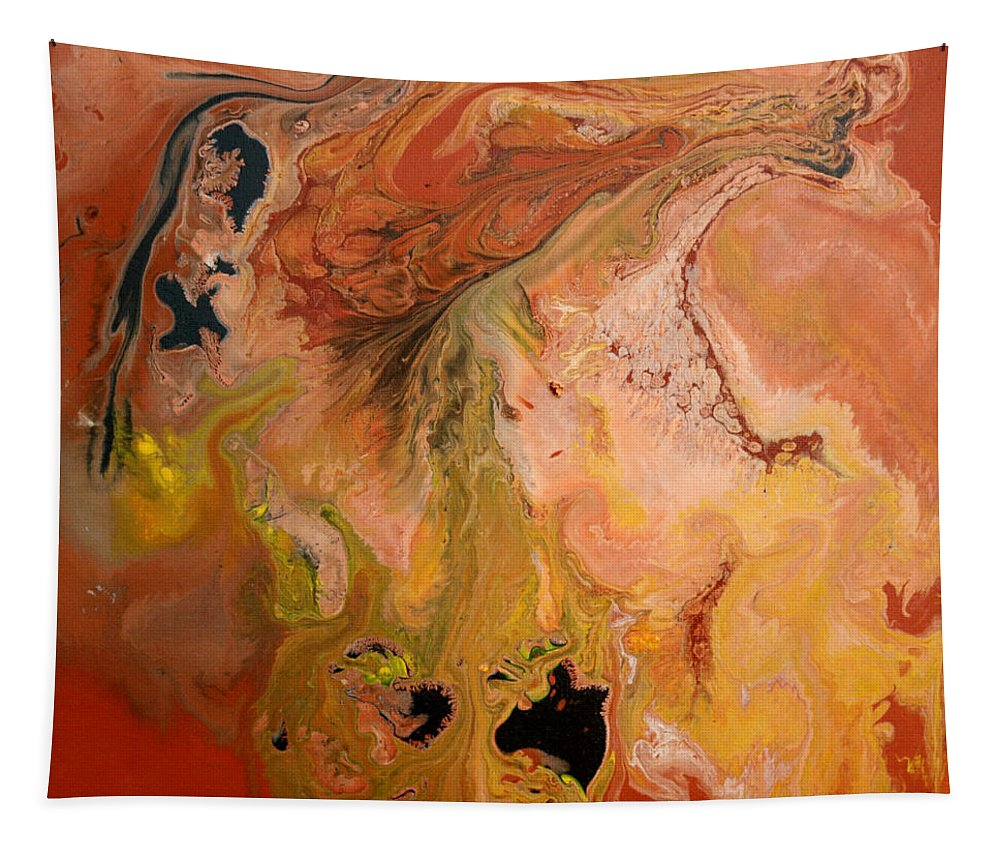 Abstract Tapestry featuring the painting Orange-brown Series No. 1 by Carole Sluski