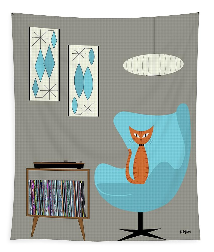 Tapestry featuring the digital art Orange Cat In Turquoise Egg Chair by Donna Mibus