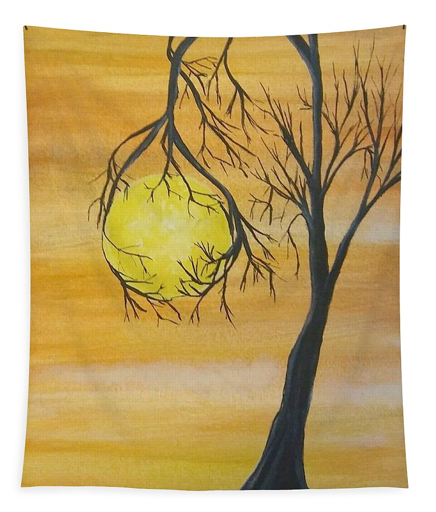 Watercolor Tapestry featuring the painting Orange Dream by Pamula Reeves-Barker