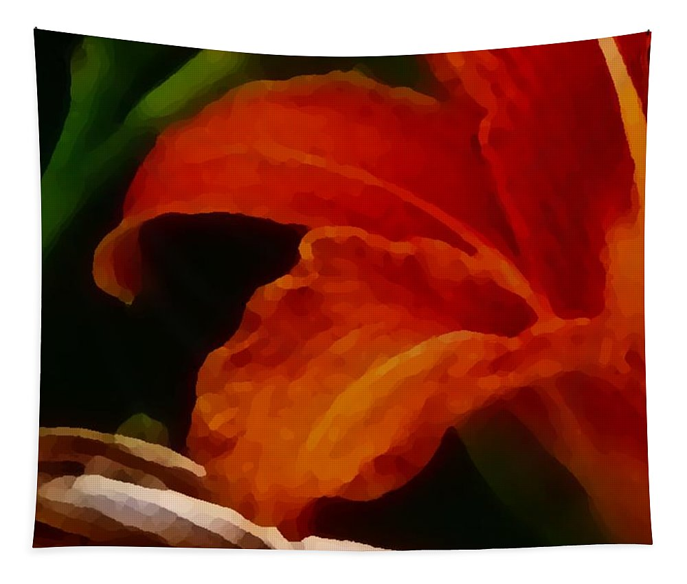 Flower Tapestry featuring the painting Orange Opening by Charleen Treasures