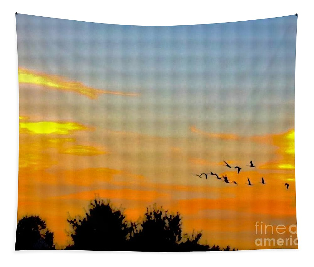 Photography Tapestry featuring the photograph Orange Sunset by Debra Lynch