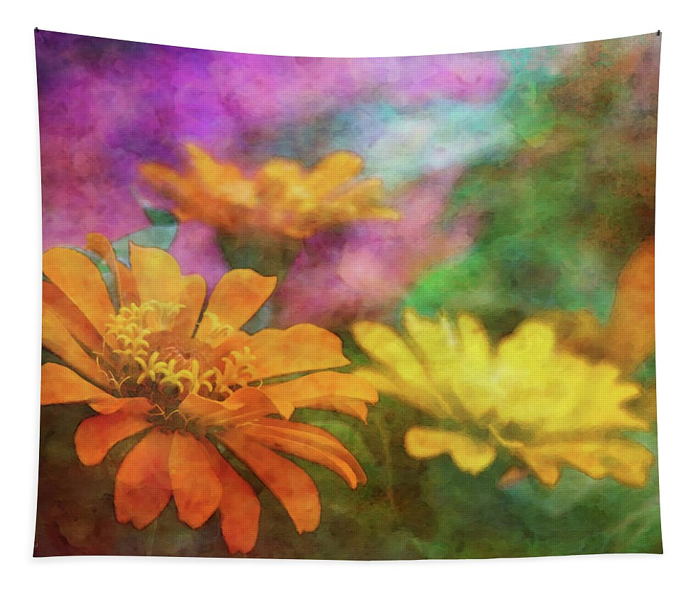 Impressionist Tapestry featuring the photograph Orange Zinnia 2753 Idp_2 by Steven Ward