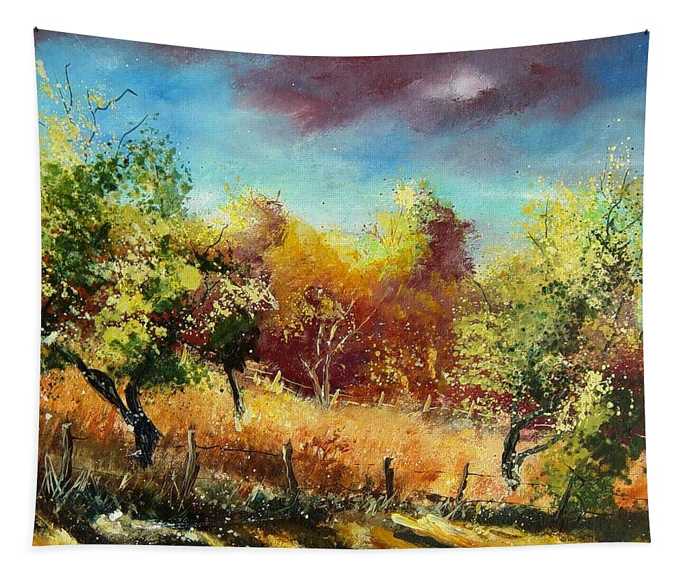 Flowers Tapestry featuring the painting Orchard by Pol Ledent