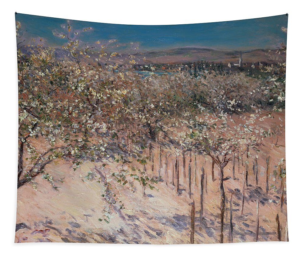 Orchard With Flowering Apple Trees Tapestry featuring the painting Orchard With Flowering Apple Trees by Gustave Caillebotte