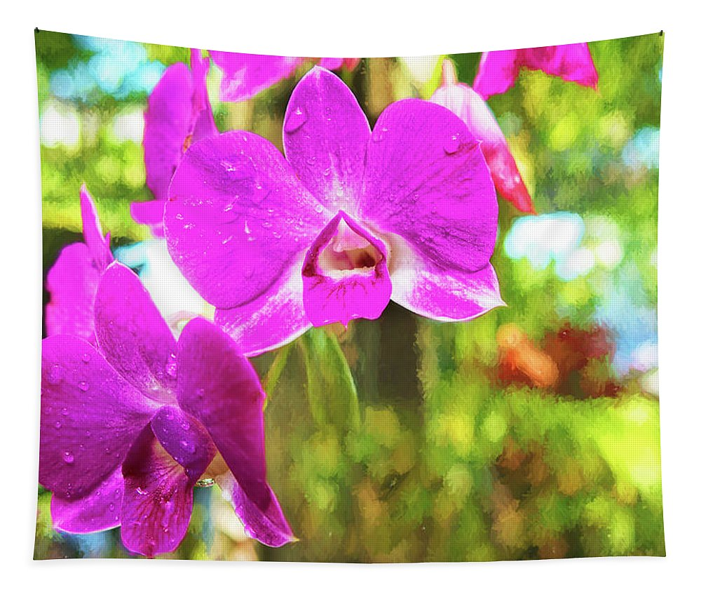Nature Tapestry featuring the photograph Orchid Oil Painting by Kay Brewer