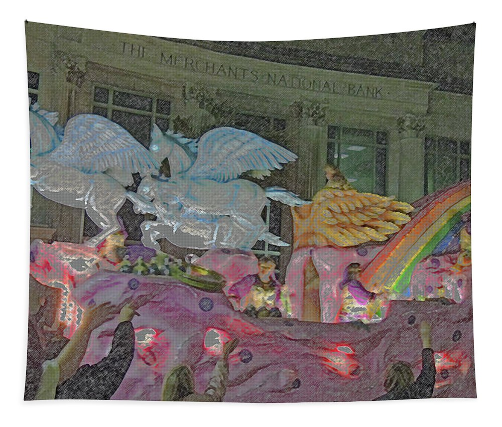 Photography Tapestry featuring the digital art Order Of Polka Dots Emblem Float - Side View - Colored Pencil by Marian Bell
