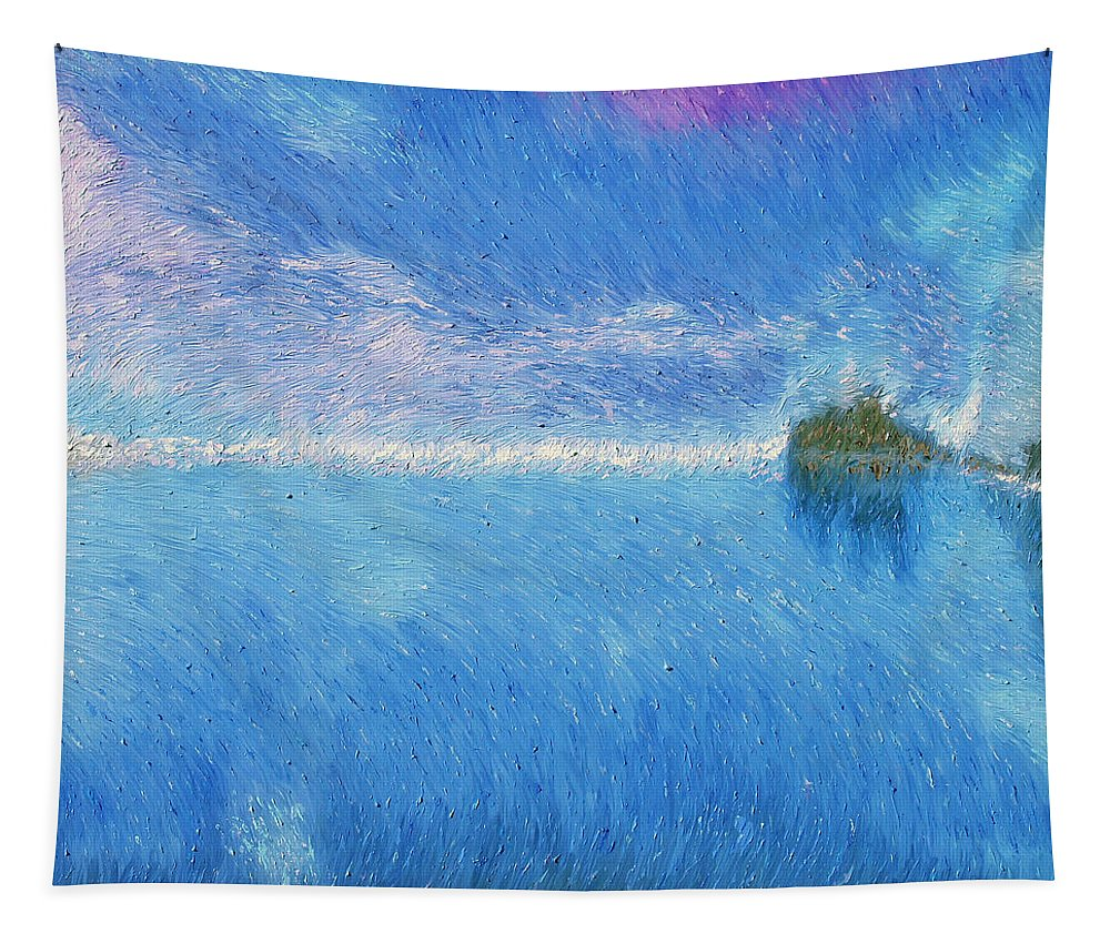 Oregon Tapestry featuring the painting Oregon Coast Twilight by Dominic Piperata