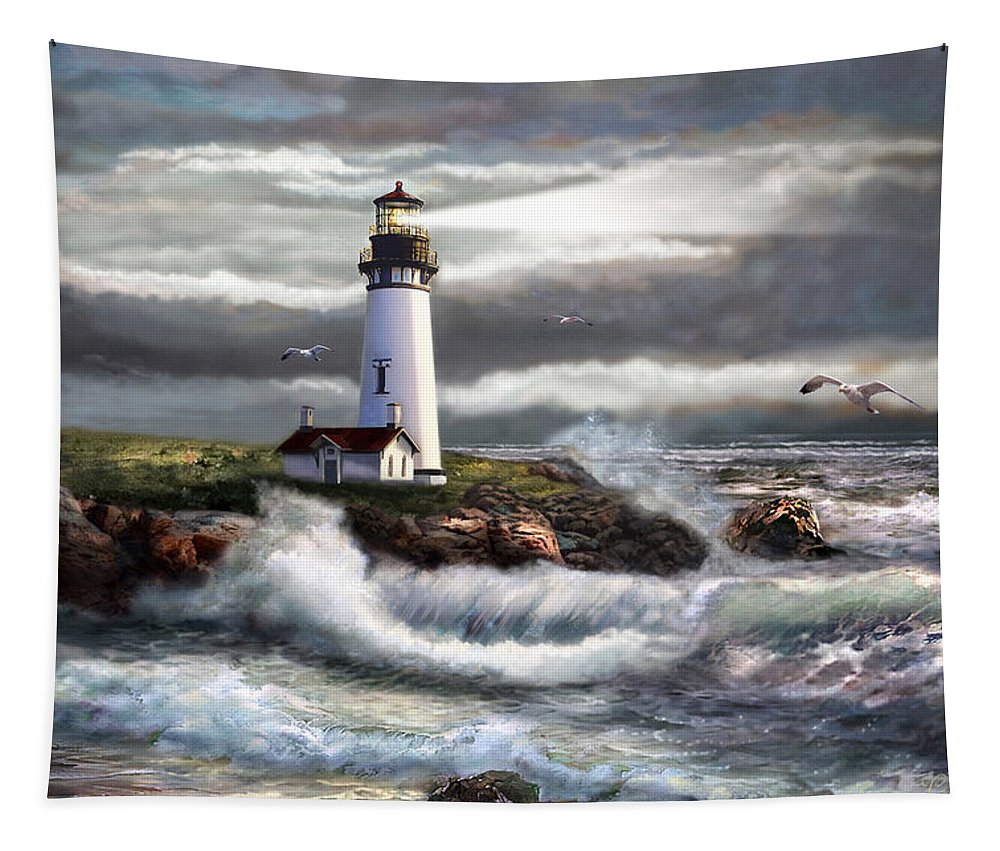 Seascape Art Tapestry featuring the painting Oregon Lighthouse Beam Of Hope by Regina Femrite
