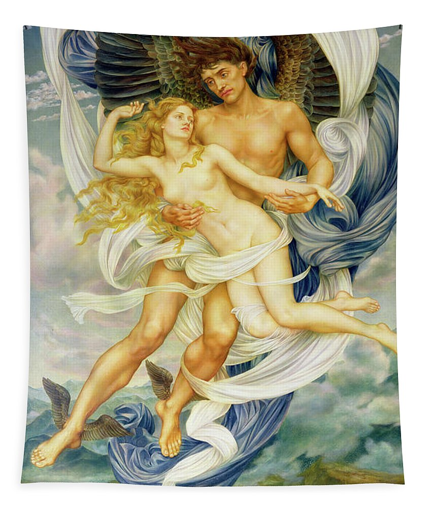 Boreas Abducting Oreithyia Tapestry featuring the painting Oreithyia And Boreas by Evelyn De Morgan