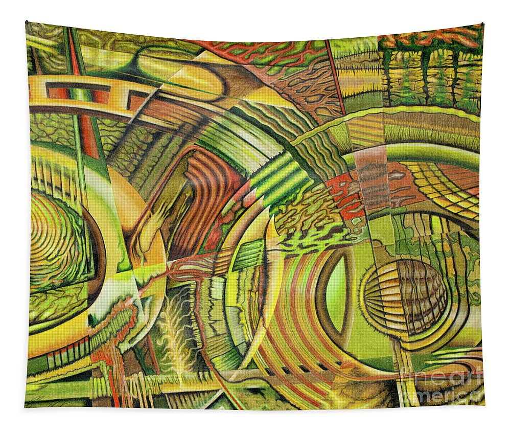 Fine Art Tapestry featuring the drawing Organical Mechanical by Scott Brennan