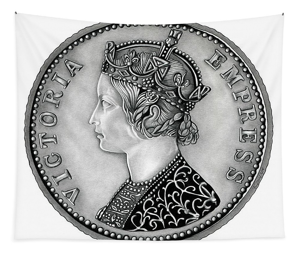 Coin Tapestry featuring the drawing Original Silver Victoria Empress by Fred Larucci