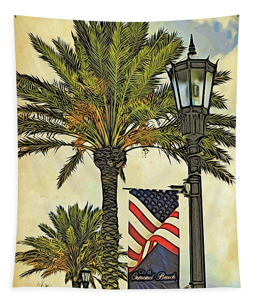 Alicegipsonphotographs Tapestry featuring the photograph Ormond Beach Patriotic by Alice Gipson