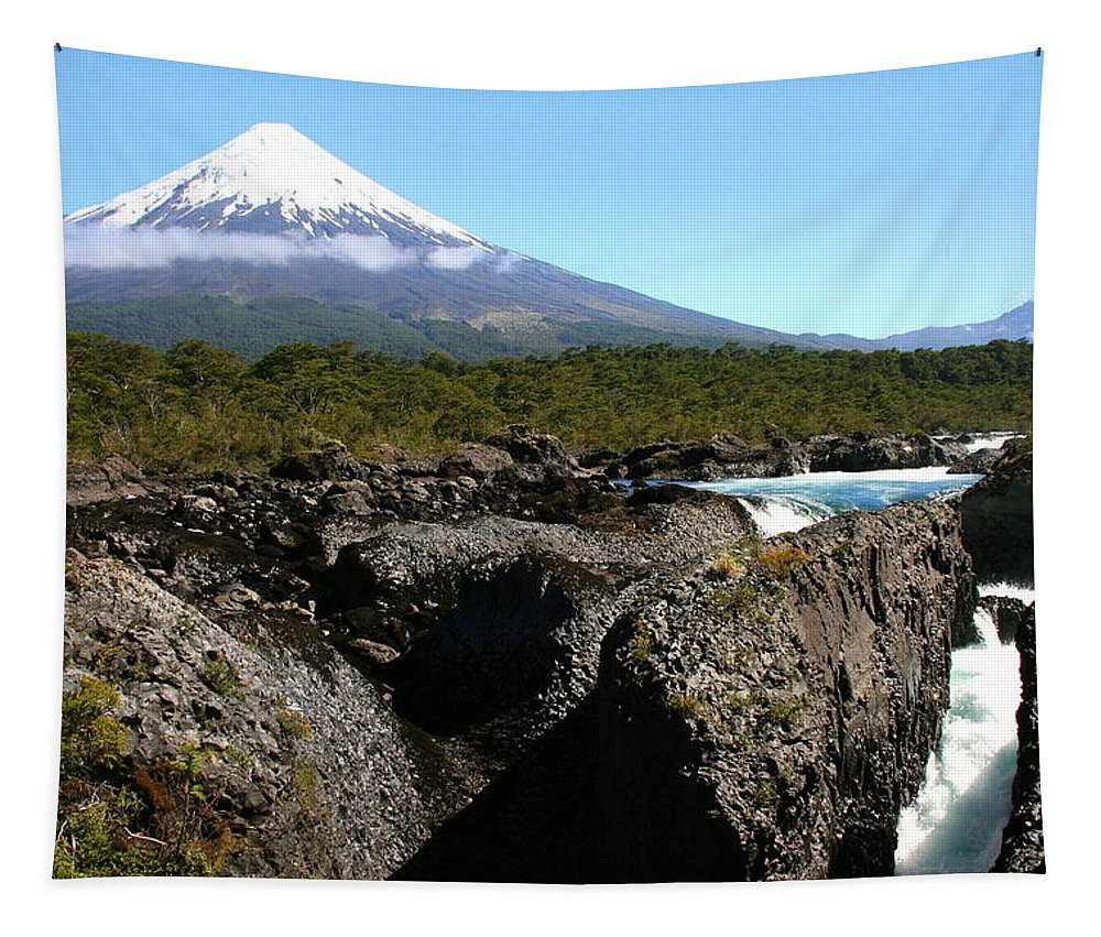 Osorno Tapestry featuring the photograph Osorno Volcano From Petrohue Falls by Laurel Talabere