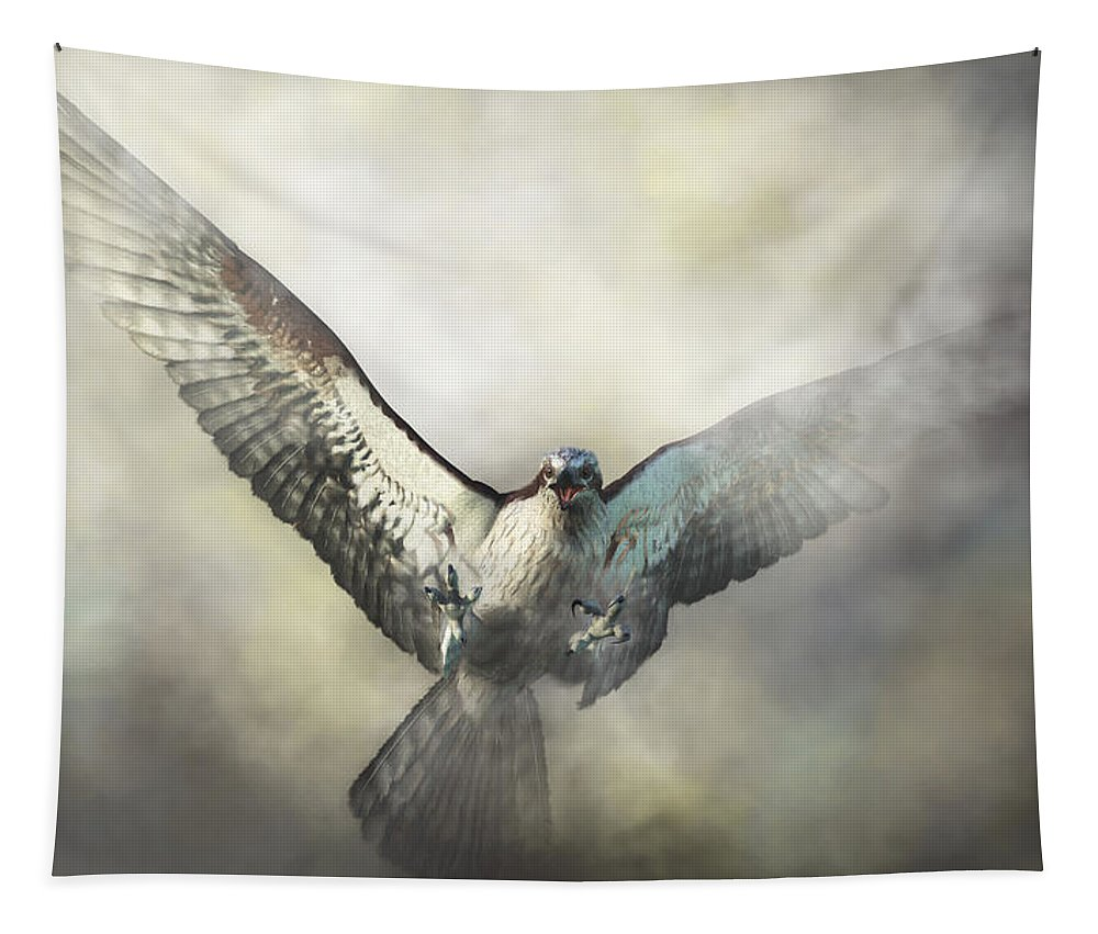 Tapestry featuring the digital art Osprey by Daniel Eskridge