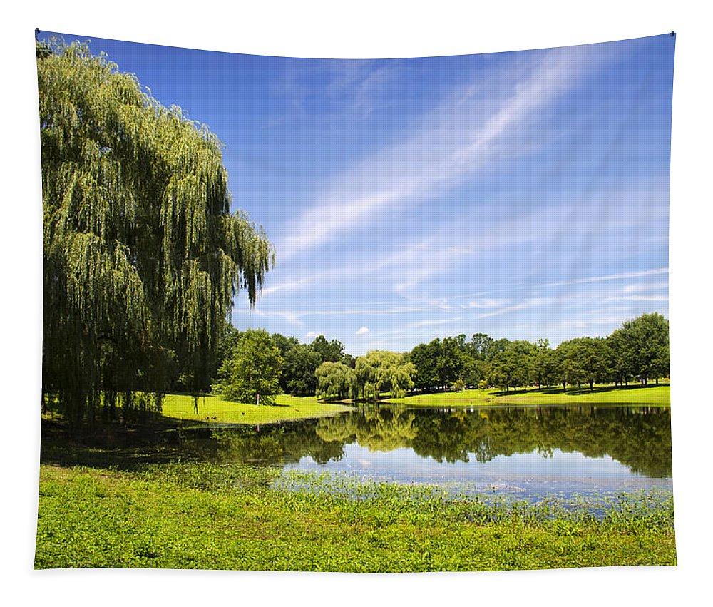 Otsiningo Park Tapestry featuring the photograph Otsiningo Park Reflection Landscape by Christina Rollo