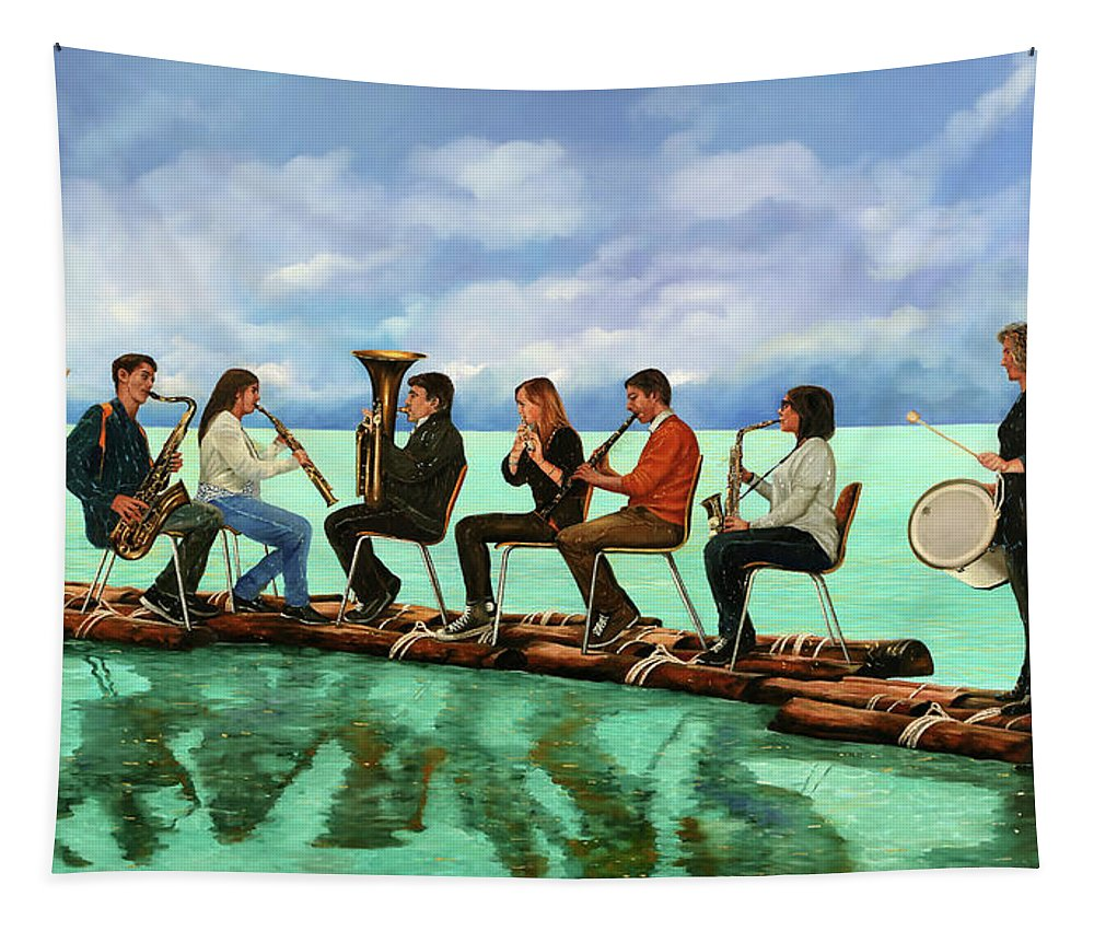 Orchestra Tapestry featuring the painting Ottetto In Navigazione by Guido Borelli
