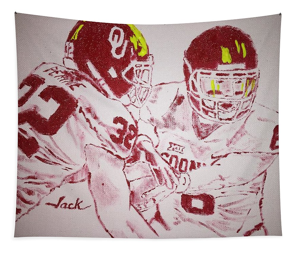 Ou Football Tapestry featuring the painting Ou Offense by Jack Bunds