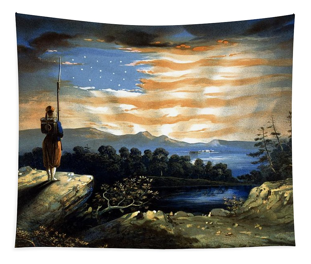 Civil War Tapestry featuring the painting Our Heaven Born Banner by War Is Hell Store