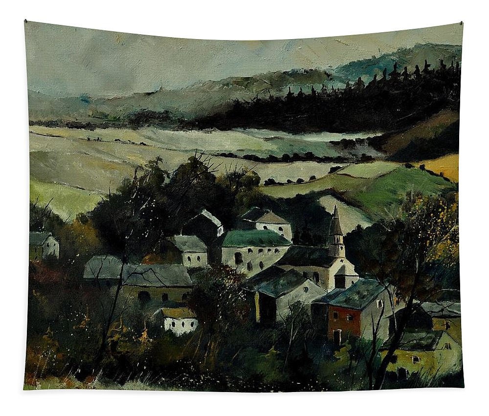 Landscape Tapestry featuring the painting Our Opont by Pol Ledent