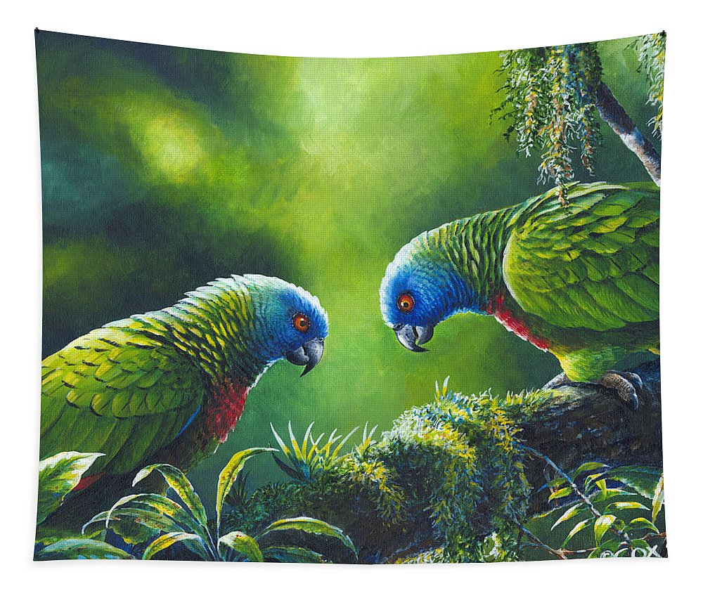 Chris Cox Tapestry featuring the painting Out on a Limb - St. Lucia Parrots by Christopher Cox
