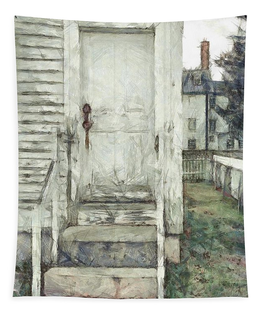 Colored Pencil Tapestry featuring the photograph Out The Back Door Pencil by Edward Fielding