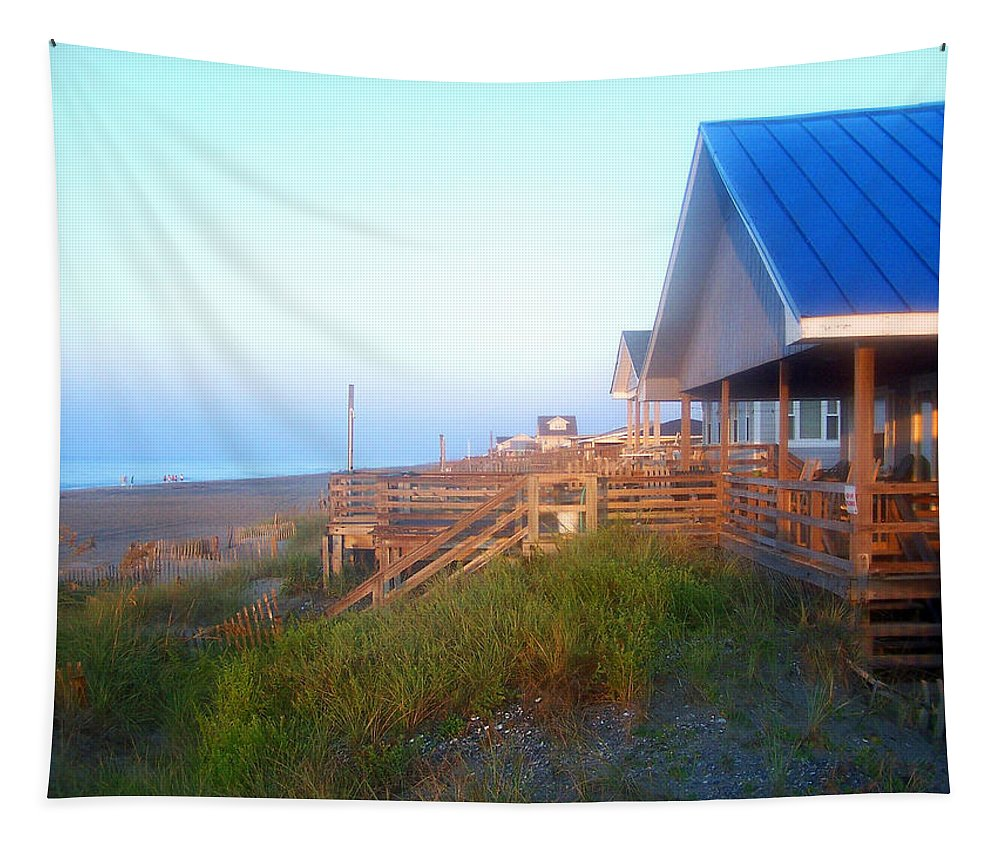 Sunrise Tapestry featuring the photograph Outerbanks Sunrise At The Beach by Sandi OReilly