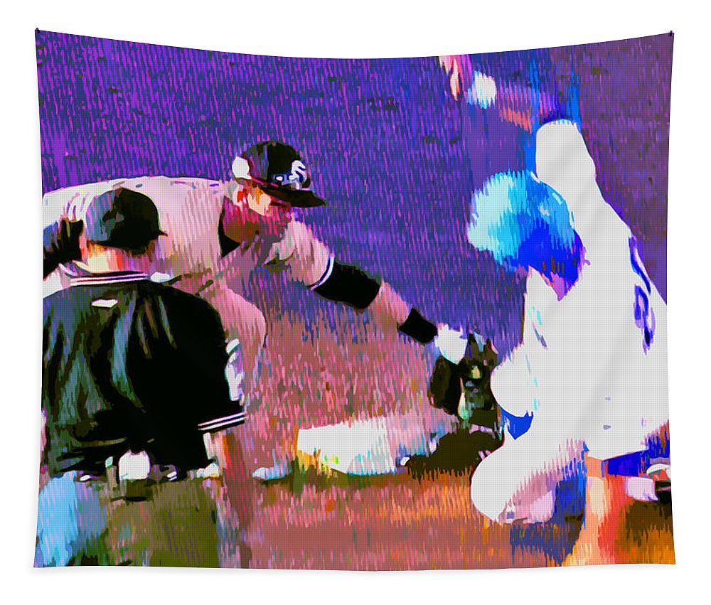 Baseball Tapestry featuring the painting Outta There by Stephen Anderson