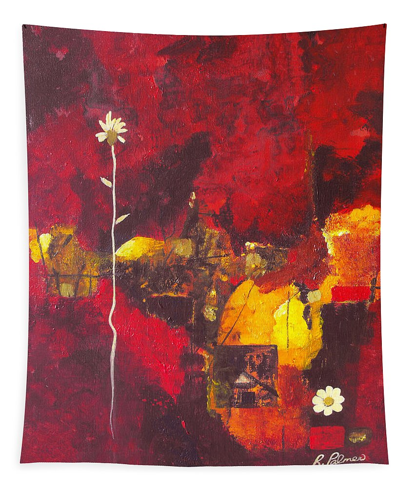 Abstract Tapestry featuring the painting Over The Broken Fence by Ruth Palmer