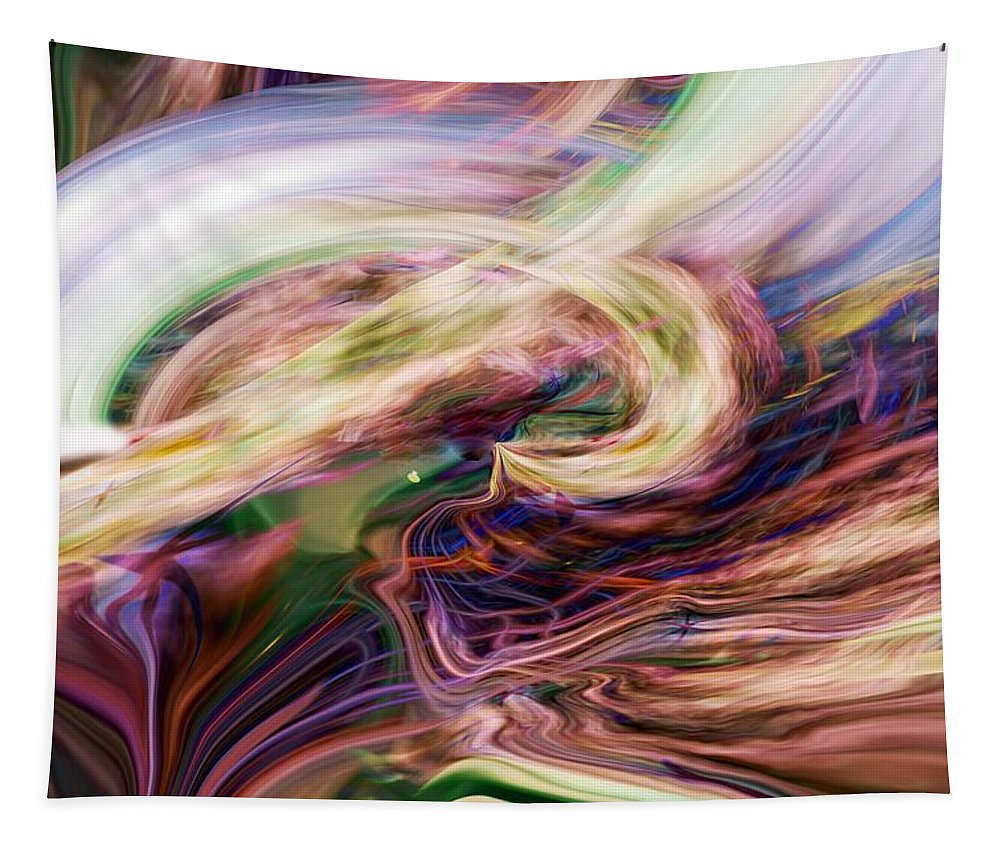 Abstract Art Tapestry featuring the digital art Over The Rainbow by Linda Sannuti