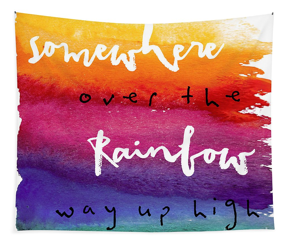 Rainbow Tapestry featuring the painting Over The Rainbow by Mindy Sommers