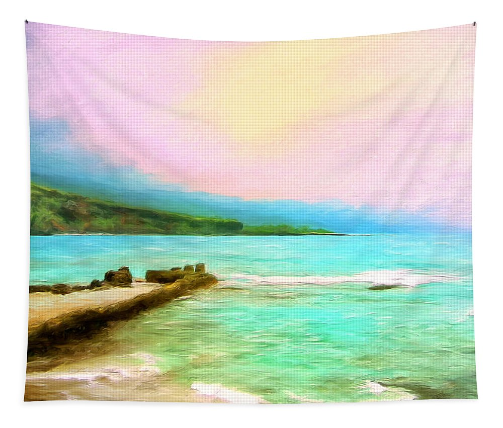 Napoopoo Beach Park Tapestry featuring the painting Overcast Sunset At Napoopoo Beach Park by Dominic Piperata