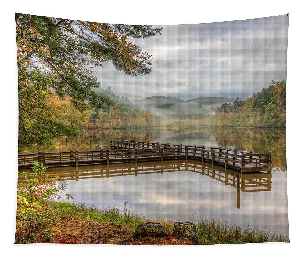 Appalachia Tapestry featuring the photograph Overlooking The Beauty Of The Lake by Debra and Dave Vanderlaan
