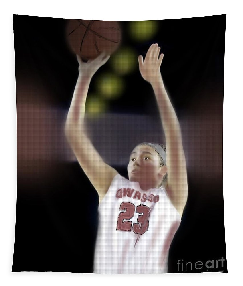 Owasso Tapestry featuring the painting Owasso Girls Win State by Jack Bunds