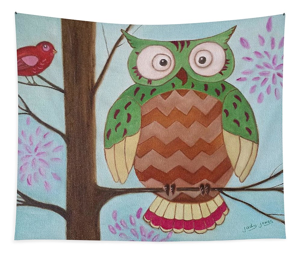 Owl Tapestry featuring the painting Owl Art by Judy Jones