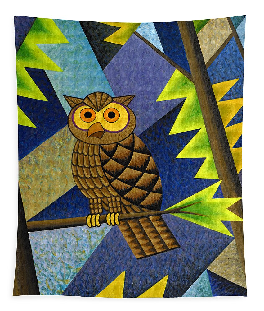 Owl Tapestry featuring the painting Owl by Bruce Bodden